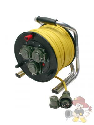 Vollgummi-Leitungsroller, 230V/16A, 50 m gelbes Kabel , druckwasserdicht,