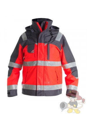 Einsatz Pilot-Shell-Jacke nach EN 471 leuchtrot/grau