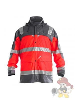 Einsatz Regenjacke nach EN 471 leuchtrot/grau