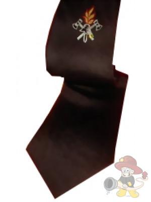 Feuerwehr Krawatte, Schlips schwarz mit Emblem