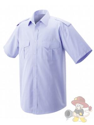 Feuerwehr Pilothemd Premium Kurzarm blau - Gr. 47/48