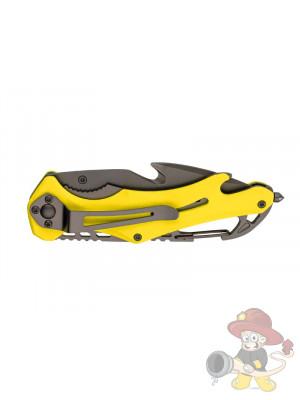 Baladeo Rettungsmesser EMERGENCY, Stahl AISI 420, Liner-Lock titanbeschichtet, neongelbe Alu-Schalen, Clip, Karabiner