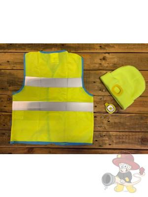 Farbige Kinder Warnweste Gelb und Mütze mit LED Licht
