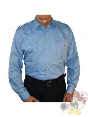 Diensthemd 1/1 Arm blau mit angenähter Schulterklappe - Gr. 39