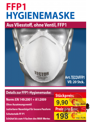 FFP1 Hygienemaske, ohne Ventil, weiß, 20 Stück