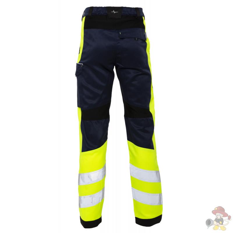 Rettungsdienst HOSE mit Stretch HiVis Klasse 1 Marineblau / Schwarz / Neon Gelb
